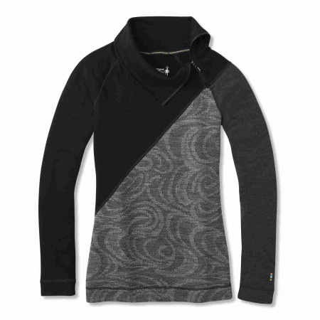 Bluza Femei Smartwool Merino 250 Asym Black Snow Swirl