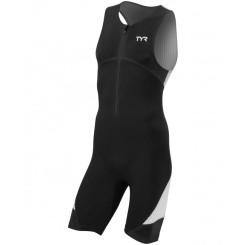 Costum Triatlon Barbati Tyr Carbon Trisuit Front Zip Black/White